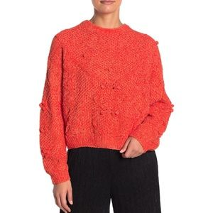 LUSH Pompom Cable Knit Sweater Size M